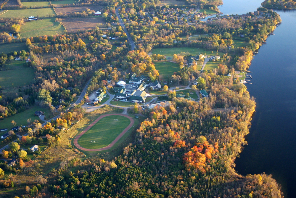 Lakefield College School aerial photo with views of much of the swim, transition, run and bike